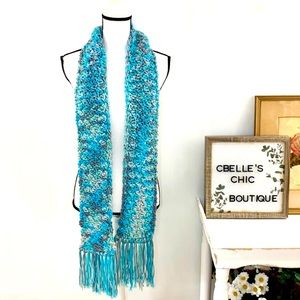 Hand Knit Long Teal Gray Fringe Granny Scarf